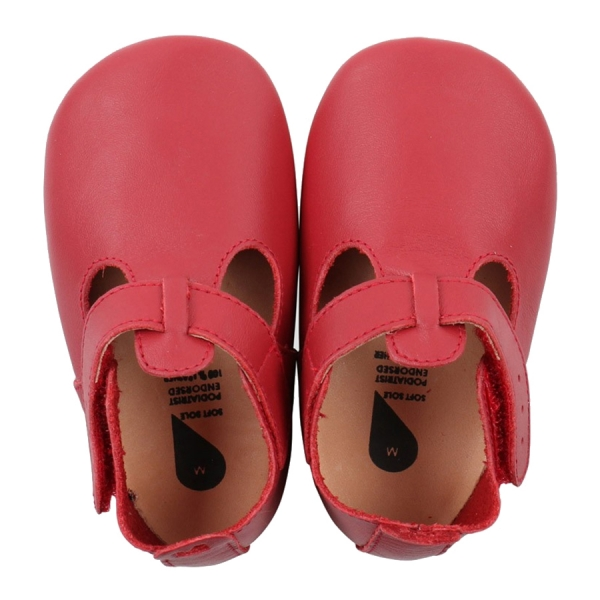 Bobux: Soft sole T- Bar Red