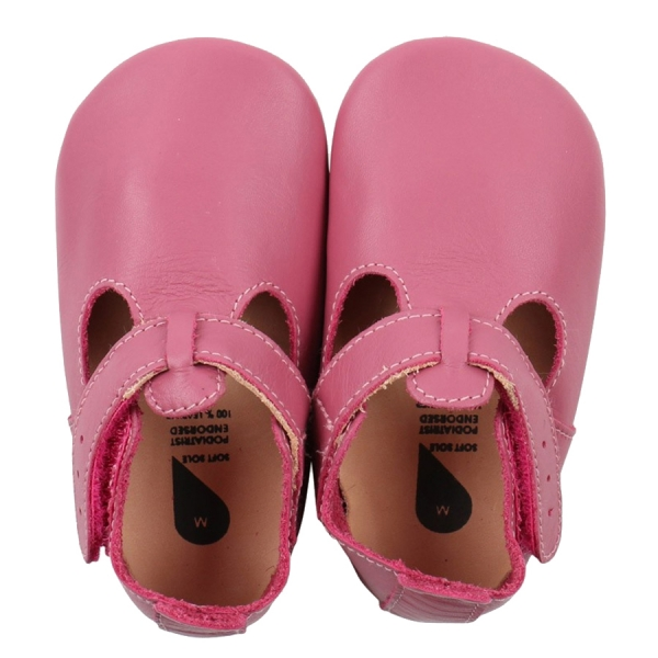 Bobux: Soft sole T- Bar Bright Pink