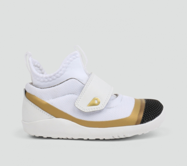 Bobux: kid+ Hi Dimension Hi Top White & Gold